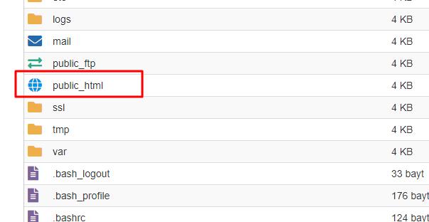 Cpanel public_html klasörü