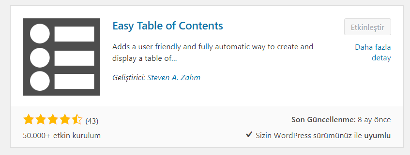 Easy Table Of Contents Eklentisi