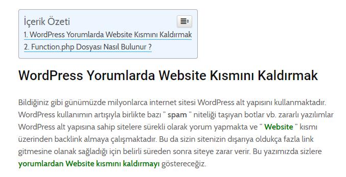 Wordpress İçindekiler Eklentisi